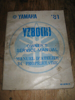 1981 Yamaha Yz 80 (K) Owners Service Manual English And French 4V1-28199-70