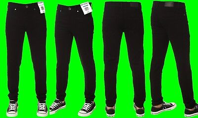 Boys ENZO Stretch Skinny Jeans Black Zip Fly New Kids Pants Sale Waist 24-29