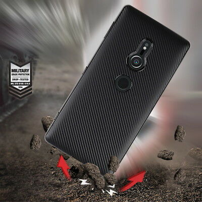 For Sony Xperia XZ2 XA2 Ultra Luxury Carbon Fiber Matte Soft Rubber Case Cover