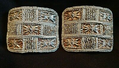Holfast Pair of Antique Victorian Beaded & Riveted Cut Steel Shoe Buckles Clips