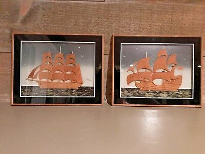 Nautical Framed Cork Ship Unique Vintage Set of Two