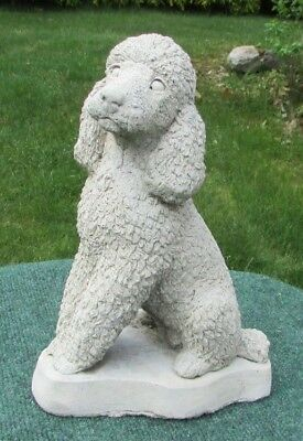 Concrete Poodle Statue, Memorial Or Use As A Pet Grave Marker