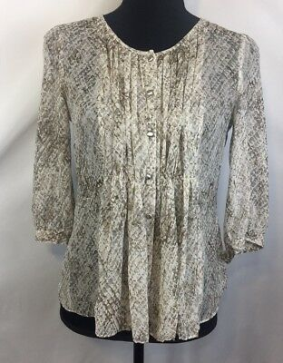 6b9df87b34 Talbots Womens Tan Print Sheer Button Down Blouse Career Casual Sz 6 Petite