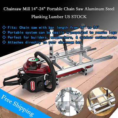 """Portable Chainsaw Mill log Planking lumber cutting 14"""" - 24"""" Chain saw Guide Bar"""