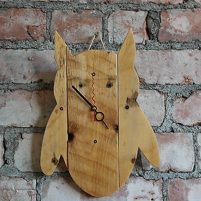 Rustic Owl shaped handmade pallet wood clock shaby chic recycled up cycled