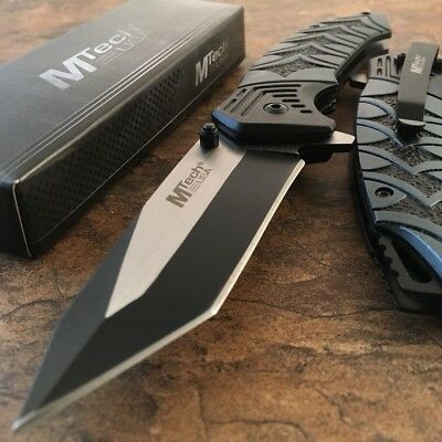 """8"""" MTECH USA Tanto Spring Assisted Tactical Folding Pocket RESCUE Knife Open NEW"""