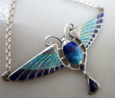 Stunning Art Nouveau Style Sterling Silver and Enamel Egyptian Scarab Pendant