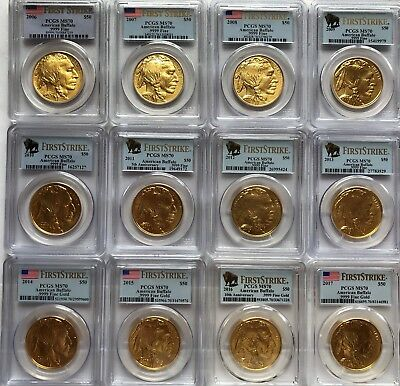 Complete Set Of 1 Oz $50  Gold Buffalos Pcgs Ms70 First Strike (12 Coins)