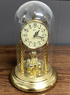 VINTAGE Loricron Quartz Mantle Clock With Dome And Rotating Pendulums