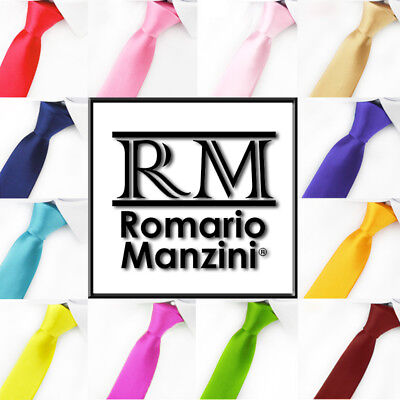 Brand New Romario Manzini® Men's Traditional Solid Color Ties (56 colors)
