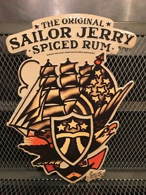 SAILOR JERRY SPICED RUM ~ Eagle Ship Flag Tattoo RARE Metal Tin Advertising Sign