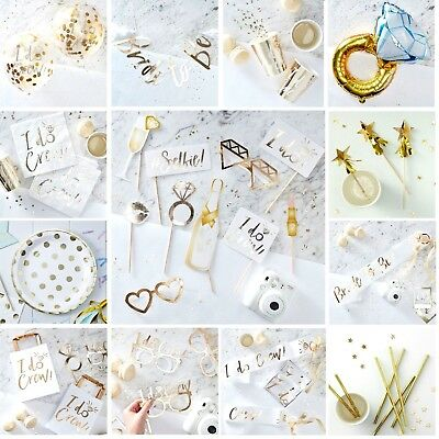 I DO CREW Wedding Gold Foiled and White Bride to Be Hen Party DECORATIONS FAVORS