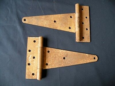 "Pair of Heavy 13"" Gate Door Hinges Barn Strap Iron"