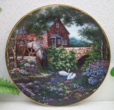 The Franklin Mint Violet Schwenig Country  OLDE MILL COTTAGE  Collector Plate