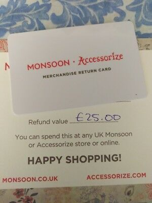 Monsoon Accessorize £25 Merchandise Return/Gift Card