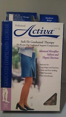 ecd2ae2ab9 Activa 20-30 mmHg Soft Fit Thigh High with Lace Top Socks, Barely Beige