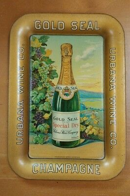 C.1900 Urbana Wine Gold Seal Champagne Tin Litho Tip Tray Coshocton Ohio, Nice