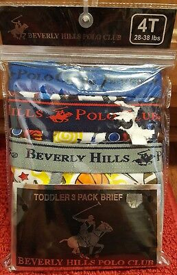 NEW Boys Beverly Hills Polo Club Underwear Underpants 3 Pack Brief •Size 4T