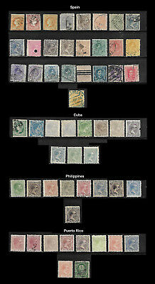 Early Spain & Colonies - Used - Clean Backs - 55 Stamps