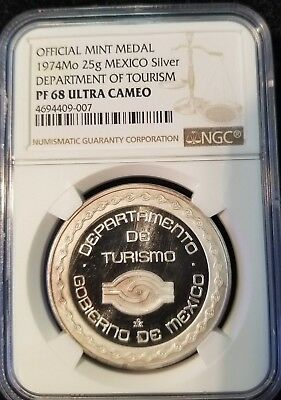 1974 Mo MEXICO 25G SILVER MINT MEDAL DEPARTMENT OF TOURISM NGC PF 68 ULTRA CAMEO