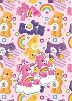 Licensed CARE BEAR Gift Wrapping Sheets x 2 + Tags x 2 Birthday Rainbow Cheer