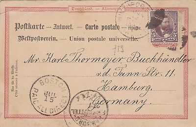1890: Post card from Boston (paid all directions) to Hamburg/Germany