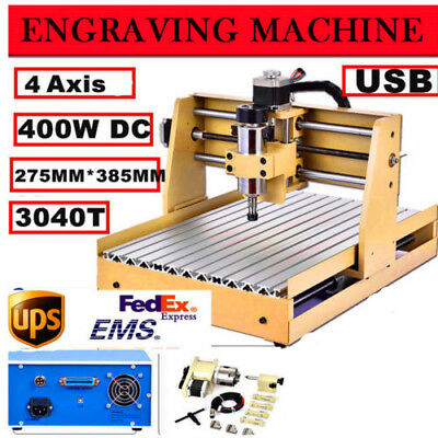 Usb Cnc Router Engraver Engraving Cutter 4 Axis 3040 T-Screw Desktop Cutting Us