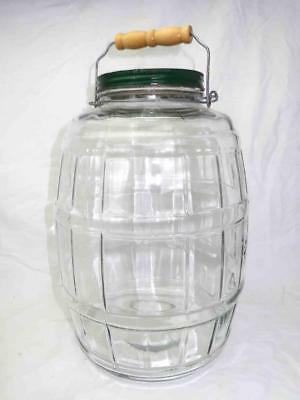 Vintage 2.5 Gallon Glass Barrel-Shaped Jar with Screw On Lid and Wooden Handle
