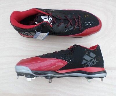 brand new a2ed3 068c4 NEW Adidas PowerAlley 4 Size 14 Mens Baseball Metal Cleats Q16483 Black Red  NWOB