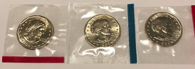 1980 P D S Susan B Anthony Dollars BU in US Mint Cello - 3 Coin Uncirculated Set