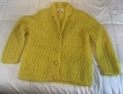 Vintage Cyn Les Cardigan Sweater Womens Large Hand Knit Mohair Wool Blend Yellow