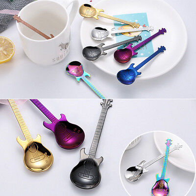 Stainless Steel Rainbow Guitar Shape Coffee Mixing Spoon Cold Drink Tea Spoon