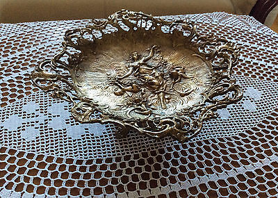 RARE! Antique Large Size Brass Fruit Bowl, Dish Very Nice With bas-relief