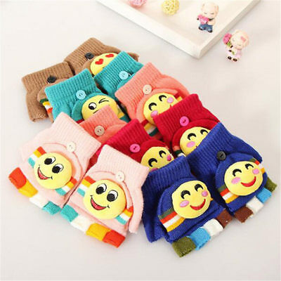 Kids Soft Cartoon Gloves Stretchy Knitted Winter Warm Gloves for Girl Boy