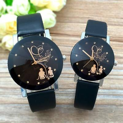Fashion Men's Women Couple Silhouette Back Love Leather Band Quartz Wrist Watch