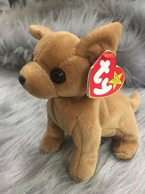 Tiny the Chihuahua Ty Beanie Baby, Rare 5 ERRORS NEW with Tags and tag protector
