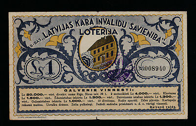 Latvia Wounded Warriors' Union lottery 1937