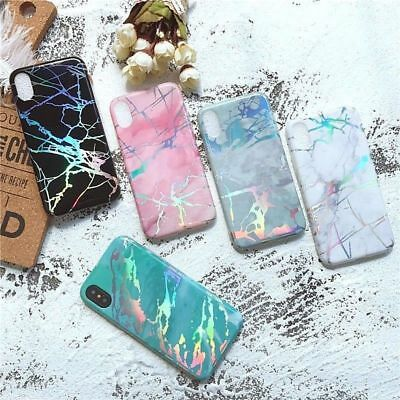 Marble Iridescent Holographic Holo Phone Case for Samsung Galaxy S10 s9 S8 S7