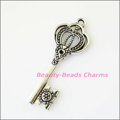6Pcs Antiqued Silver Tone Crown Key Charms Pendants 16x44mm