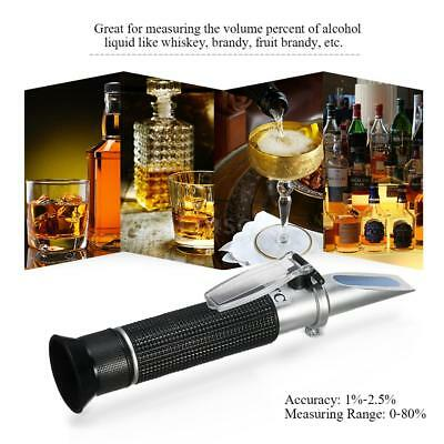 Portable ATC Alcohol Refractometer Liquor Volume Percent Tester 0-80% Range Q1A2