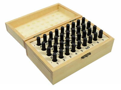 Letter Number Punch 36pc A-Z 0-9 Steel Metal Stamp 3/16in 5MM w Wood Case