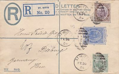 1909: St. Kitts - Registered card to Germany