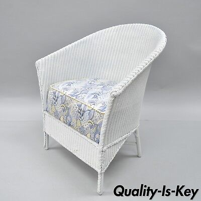 Antique White Wicker Victorian Arm Chair Patio Sunroom Lounge Barrel Back Chair