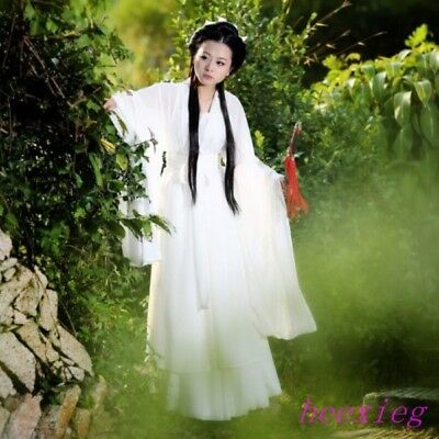 Ancient Womens White Fairy Costume Cosplay Dress Clothing Hanfu Outfit Robe size