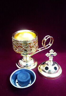 Metal Censer Old Gold - Thurible - Incense Burner Censer Orthodox Catholic