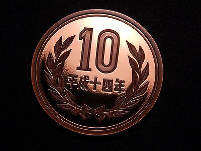 Japan *Proof* 10 Yen 2002 Heisei Year 14 Brilliant Deep Cameo Coin!