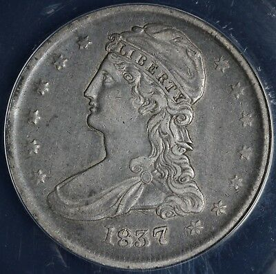 1837 50c Capped Bust Half Dollar ANACS EF 40 DETAILS CLEANED