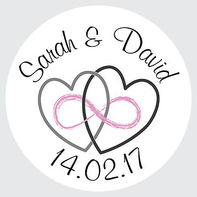 Personalised Round Wedding Favour Envelope Seal Stickers