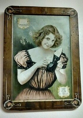 Antique 1883 The Brown Shoe Company Tin Lithograph Sign Rare Advertising Piece