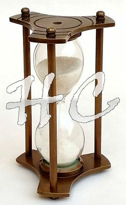 Vintage Brass Sand Timer Old Antique Sand Glass Clock Ship Maritime Hourglass